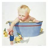 Illustration of a Young Child Playing with Bath Toys by E.N. Donaldson Giclee Print