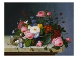 Still Life: Flowers on a Marble-Topped Table Giclée-Druck von Severin Roesen