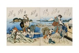 Kakuban Surimono Diptych Women and Boys Gathering Clams on the Seashore Near Enoshima Giclee Print by Katsushika Taito II