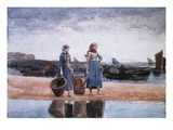 Two Girls on the Beach, Tynemouth Giclee Print by Winslow Homer