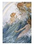 Book Illustration of Nymphs Riding a Wave by Florence Harrison Giclee Print