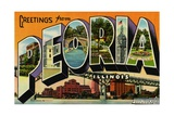 Greetings from Peoria, Illinois Postcard Giclee Print
