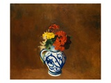 Geraniums and Flowers in a Vase Giclee Print by Odilon Redon
