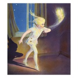Book Illustration of Peter Pan Tiptoeing with Tinkerbell by Roy Best Giclee Print