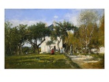The Garden and House of Monsieur Jacquette in Fervaqes Giclee Print by Eugène Boudin