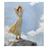 Illustration of a Woman on the Top of a Mountain by Charles Courtney Curran Giclee Print