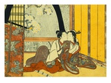 Two Lovers in an Interior by a Yellow Blind Gicleetryck av  Harunobu