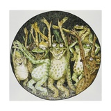 Book Illustration of Frogs Celebrating Giclee Print by John D. Batten