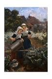 Die Kleinen Gartnerinnen Giclee Print by Edmund Louyot