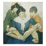 Illustration of a Mother and Children Reading by Jessie Willcox Smith Giclee Print