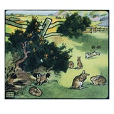 Illustration of Rabbits in a Field by Edwin Noble Giclee Print