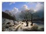 A Frozen Winter Landscape Giclee Print by Johannes Bartholomaus Duntze