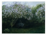 Lilacs in Twilight or Resting Under the Lilacs Giclee Print by Claude Monet