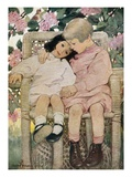 Book Illustration of Two Children Sitting Together in a Wicker Chair by Jessie Willcox Smith Giclee Print
