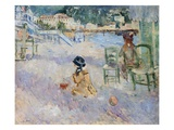 Beach in Nice Lmina gicle por Berthe Morisot