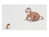 Baby's Year, Book with Baby Chasing Ball Giclee Print by Meta Morris Grimball
