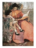 Book Illustration of Mother and Daughter Reading by Jessie Willcox Smith Giclee Print