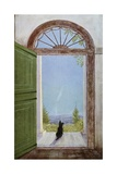 Illustration of a Dog Sitting on the Front Porch Giclee Print by Marguerite Kirmse