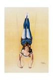 Poster Depicting a Female Acrobat Using Rings Giclee Print