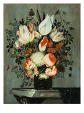 Tulips, Roses, Turk Caps, and Other Flowers in a Glass on a Table Giclee Print by Helena Roouers