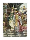 Illustration Depicting the King and Queen Asleep Giclee Print by Charles Robinson