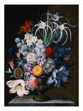 An Arrangement of Tulips, Narcissi, Auriculas, Poppies, Lilies, Columbines, Ranunculas, and Other F Giclee Print by J.A. Simson