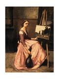 L'Atelier De Corot (Jeune Femme En Robe Rose, Assise Devant Un Chevalet Et Tenait Une Mandoline) Giclee Print by Jean-Baptiste-Camille Corot