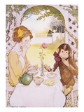 Illustration of a Girl and a Monkey Having Tea by Jessie Willcox Smith Giclee Print