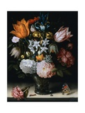 Tulips, Narcissi, and Other Flowers in a Glass Vase, with a Caterpillar, a Fly and a Painted Lady Giclee Print by Ambrosius Bosschaert the Elder