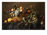 Grapes, Plums and Other Fruits and Nuts in a Wicker Basket with Vegetables on a Draped Table Giclée-Druck von Adriaen van Utrecht