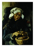 Peasant of Neuen, Peeling Potatoes Reproduction procédé giclée par Vincent van Gogh