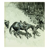 Crossing a Dangerous Place Giclee Print by Frederic Remington