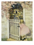Illustration of a Little Girl Walking Through a Gate by Jessie Willcox Smith Giclée-Druck
