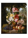 A Vase of Summer Flowers and Fruit on a Ledge in a Landscape Giclee Print by William John Wainwright
