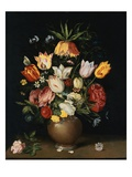 A Crown Imperial Lily, Roses, Tulips, a Peony, Fritillaries, a Cornflower, Forget-Me-Nots and Other Giclee Print by Andries Daniels