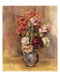 Vase of Gladiolas and Roses Giclee Print by Pierre-Auguste Renoir