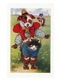 Postcard of a Puppy Playing Leapfrog with a Kitten Giclee Print