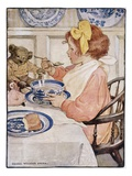 Illustration of a Little Girl Eating Porridge by Jessie Willcox Smith Giclee Print