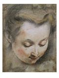 The Head of a Woman Looking Down to the Right Giclee Print by Federico Barocci