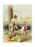 Illustration of One of the Three Little Pigs with a Woodcutter Giclee Print by Blanche Fisher Wright