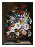 An Arrangement of Honeysuckle, Yellow Lupin, Lilies, Scabius and Other Flowers in a Vase Giclee Print by J.A. Simson
