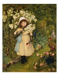Portrait of Effie Holding a Lily and a Posy of Roses in a Garden Giclee Print by Marie Spartali Stillman
