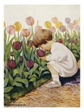Illustration of a Child Smelling Tulips by Jessie Willcox Smith Giclee Print