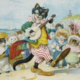 Book Illustration of a Cat Playing a Banjo Photographic Print