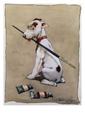 Illustration of a Dog Holding a Paintbrush by Cecil Aldin Giclee Print