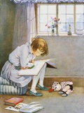 Book Illustration of a Girl Reading by Honor C. Appleton Lámina fotográfica