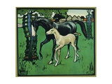 Illustration of a Horse and Foal Giclee Print by Edwin Noble