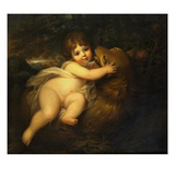 Portrait of the Hon. William Lamb Later 2nd Viscount Melbourne, as a Child, Playing with a Dog in a Giclee Print by Maria Hadfield Cosway