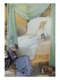 Illustration Depicting Sleeping Beauty and Her Attendants Asleep by Honor C. Appleton Giclee Print