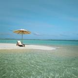 Umbrella and Beach Chair on the Beach Photographic Print